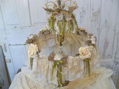 Shabby chic Victorian lamp shade decorated by AnitaSperoDesign, $235.00