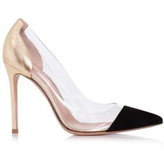 GIANVITO ROSSI HIGH HEELS HIGH HEEL PERSPEX S Gold ($381) ❤ liked on Polyvore featuring shoes, pumps, heels, gold, clear heel shoes, black shoes, metallic pumps, high heel pumps and high heel shoes