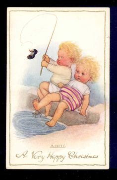Pearse Bad Luck Fishing Brother Catches Shoe Sister Bitten by Crab Old Postcard | eBay