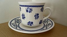 Crown Lynn Chelsea Cup and Saucer blue and white by RavenAmbrosia, $16.00
