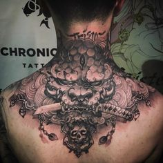 Foo Dog upper back/neck tattoo Artist: @tristen_chronicink Check out @chronicinkasian for our collection of asian tattoos!
