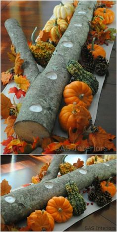 21 DIY Thanksgiving Centerpieces That Will Be The Star Of Your Dinner Table Retro Home Decor, Unique Home Decor, Diy Thanksgiving Centerpieces, Log Candle Holders, Vegetarian Thanksgiving, Thanksgiving Ideas, Christmas Balls, Dinner Table, Spice Things Up