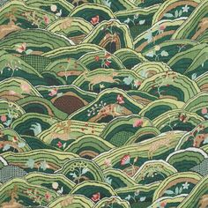 Schumacher Charming animals gambol within a naïve landscape in this Rolling Hills Fabric. This design preserves the rustic simplicity of the embroidered original, which dates to Color: Green Design Textile, Design Floral, Portfolio Illustration, Timberwolf, Geometric Wallpaper, Eclectic Wallpaper, Antique Wallpaper, Schumacher, Designer Pillow