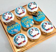 Doraemon cupcakes Cartoon Birthday Cake, Make Birthday Cake, Happy Birthday Cakes, Doraemon Cake, Choco Truffle, Birthday Cake Delivery, Cake Branding, Online Cake Delivery, Cake Name