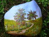 Acrylmalerei - Landschaft, Sommer, Feld mit Birken, Stein bemalt - ein Designerstück von KunigundeswunderbareKunst bei DaWanda