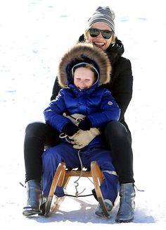Cate Blanchett went sledding with her son Ignatius at Volkspark Friedrichshain Park in Berlin, Germany, March 24.