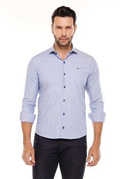 e79dd63704 Camisa Manga Longa Remo Fenut Mescla Azul