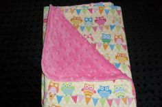 Cute soft and cozy baby blanket of adorable owl by MuffysCreations