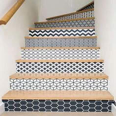 wallpapered and tiled staircase design and decor ideas - Most staircases are ove. - Home Design Tiled Staircase, Staircase Design, Staircase Ideas, Decorating Staircase, Staircase Makeover, Bannister Ideas, Wallpaper Staircase, Loft Staircase, Tile Stairs