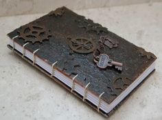 Handmade, steampunk style, coptic stitch journal from The creative shop by DaWanda.com