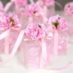 24PCS  6X6X6CM PVC Favor Gift Candy Box Bomboniere Boxes Baby Shower Party