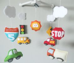 Baby Crib Mobile-Cars and Road Signs by LincKids on Etsy