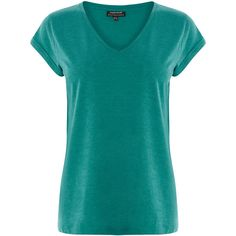 Warehouse V Neck Bf Tee ($18) ❤ liked on Polyvore featuring tops, t-shirts, green, jersey tee, vneck tee, jersey v-neck t-shirt, blue v neck t shirt and green top