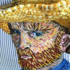 """#happynews!  My #embroideredportrait of #vincentvangogh has been #sold to a #Dallas #collector!  She saw him at the #diadelosmuertos #show at the #bathhouseculturalcenter #exhibit, and she just had to have him!  She told me the words every #artist wants to hear: """"I'm #redecorating and want only #originalart in my #house now!"""" #yippie! #vincent #dimensionalembroidery #sunhat #beard #crewelembroidery #crewel #crewelwork #postimpressionism #appropriationart #selfportrait @mrxstitch…"""