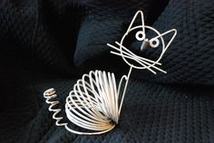 Vintage Richard Galef Ravenware Mid Century Wire Cat Figurine Letter Rack Holder 1950's Original