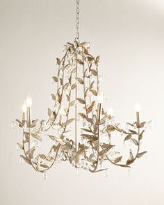 JT Home Furnishing Cascading Leaves Six-Light Champagne Chandelier