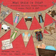 Christmas Mantle Garland Bunting Banner Nativity Clip Art Printable  on burlap baby Jesus, Manger holiday garland
