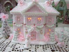 Chic Lighted Christmas Village House Shabby Pink W Bottle Brush Tree Snowman ETC