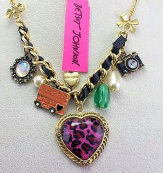 Betsey Johnson** Leopard Heart - camera multi accessories combination Necklace NEW