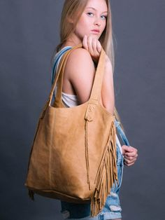Camel Leather Tote bag - Soft Leather Bag - Women Handbag - Every Day Bag - FRINGE BAG