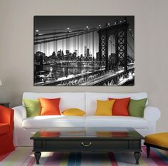 Large Wall Art NEW YORK Canvas Prints - Black and White Double Bridges in New York, Manhattan Bridge and Brooklyn Bridge