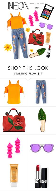 """""""Simply neon"""" by merry-n-bright ❤ liked on Polyvore featuring beauty, Charlotte Olympia, Misa, Lancôme, Christian Dior and NYX"""