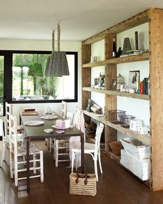 Vicky's Home: Una casa en el Ampurdan / Cottage in the Ampurdan. Shelves from old floor joists/knit lampshades.