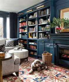 Architektur 58 Stunning Library Room Design Ideas With Eclectic Decor 58 Stunning Library Room Design Ideas With Eclectic Decor The post 58 Stunning Library Room Design Ideas With Eclectic Decor appeared first on Architektur. Home Library Design, Blue Bookcase, Room Design, Family Room, Home Remodeling, Home Decor, House Interior, Home Office Design, Home Library