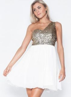 Elopement?  White One Shoulder Dress with Sequin TopChiffon Skirt,  Dress, one shoulder dress  party dress, Chic