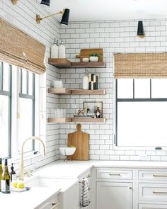 Antonio Adjustable One Arm Wall Lamp Apartment Kitchen, Kitchen Interior, Kitchen Decor, Kitchen Ideas, Kitchen Cabinetry, Kitchen Shelves, Studio Kitchen, Kitchen Design, Kitchen Layout