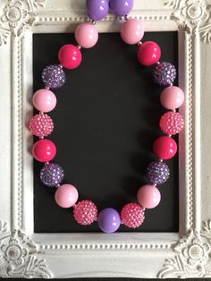 Pink and purple bubblegum necklace by LilchicboutiqueLIC on Etsy