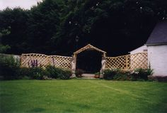 Chestnut products, hand made from sustainable woodland management in Cornwall, UK Trellis Fence, Garden Fencing, Garden Art, Rose Arbor, Low Fence, Arbour, Types Of Art, Raised Beds, Fences