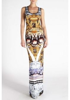 Philipp Plein - 'Jungle Print' Jersey Dress | Multi coloured jersey dress from Philipp Plein featuring a scoop neck, a sleeveless design, a loose fit and a multi coloured collage print throughout.
