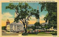 Springfield Massachusetts MA 1937 First Congregational Church Vintage postcard Springfield Massachusetts MA 1937 First Congregational Church and Municipal Group from Court Square. Unused Curteich coll