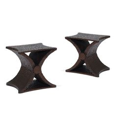 "Jean-Michel Frank, ('Pair of ""Diabolo"" X-form table with gouged texture,' ca. 1940, Gallery BAC). This piece has a gouged surface texture. It is origins from Argentina. Techniques used were carved oak. It is restored with wax finish."