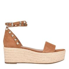 Allover pyramid studs highlight Jazlyn's wrap-around ankle strap with buckle closure, lifted by an ample espadrille wedge platform Espadrille Sandals, Espadrilles, Brown Suede, Black Suede, Metallic Leather, Leather Heels, Ankle Strap, Studs, Footwear