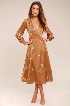 ASTR the Label Jewel Light Brown Floral Print Midi Dress 1