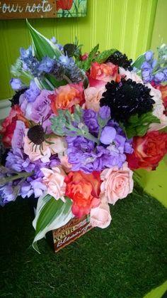 Coral,peach,lavender bouquet by sarahswedding.com