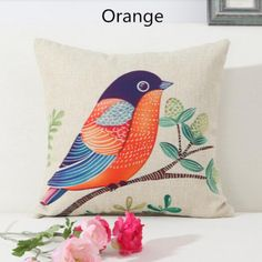 Bird throw pillow Pastoral style home decoration couch cushions