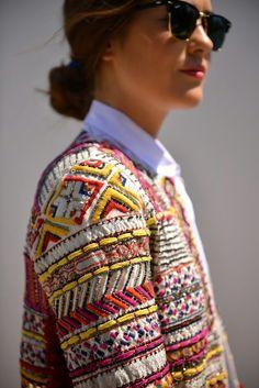 Zara embroidered jacket / chanel / raybans - blankitinerary blogger