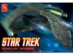 The AMT Romulan Warbird Model Kit in 1/3200 scale from the plastic Star Trek model kits range accurately recreates the starship from the Star Trek television series and motion pictures. This AMT Science Fiction model requires paint and glue to complete.