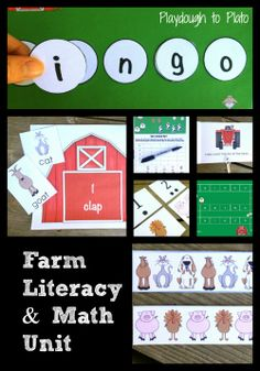 Farm Animals Literacy and Math Unit. Playful activities that teach letter recognition, word to word correspondence, phonemic awareness, writing, number recognition, graphing and patterning.