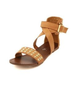 studded crisscross flat sandal