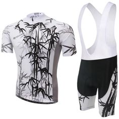 Men's White Bamboo Short Sleeve Cycling Jersey Set #Cycling #CyclingGear #CyclingJersey #CyclingJerseySet