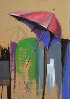 umbrellas, rain, acrylic on cardboard,