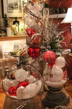 don't forget our unique offering of the very finest timeless glass ornaments and Christmas decor. Christmas Table Centerpieces, Easy Christmas Decorations, Christmas Table Settings, Glass Christmas Ornaments, Christmas Wreaths, Christmas Crafts, Holiday Decor, Christmas Images, Simple Christmas