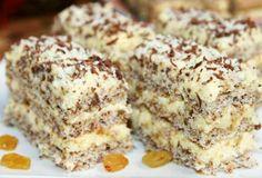 Fenomenalan kolač sa sjajnom kombinacijom sastojaka čokolade i suvog grožđja umotanih u krem od žumanaca. Može biti nedeljna poslastica ili sitni kolač na slavljima.      Sastojci:  12 belanaca 12 kašika šećera 12 kašika kikirikija, mlevenog i pečenog 6 kašika brašna  Krem: