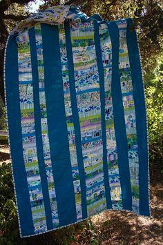 Quilt con retales, en verde azulado. Cama individual.