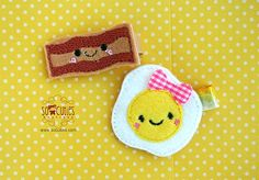 Egg and Bacon Set Felt embroidery hair clip / baby by soCuties, $7.25
