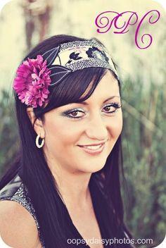 Zahra. Black, Cream, and Purples Head Wrap Headband Tie on Headband. $17.00, via Etsy.
